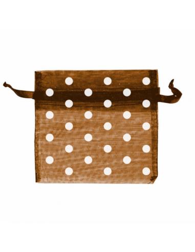 Sachets à pois en organza avec fermeture - 15x24 cm - marron
