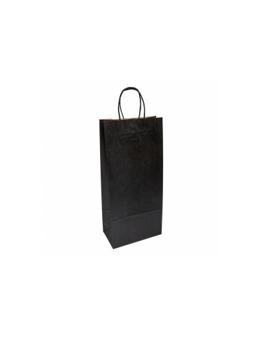 Sacs avec anses pour 2 bouteilles Noir - 18 + 10 x 39 cm