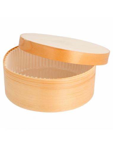 Mini boite cylindrique pour cuisson avec couvercle - Ø13x5 cm - par 100 unités
