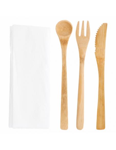 Set fourchette, couteau, cuillère en bambou + serviette
