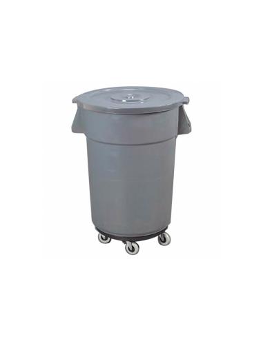 Conteneur poubelle avec couvercle et roues 122L ø56X69cm gris PP
