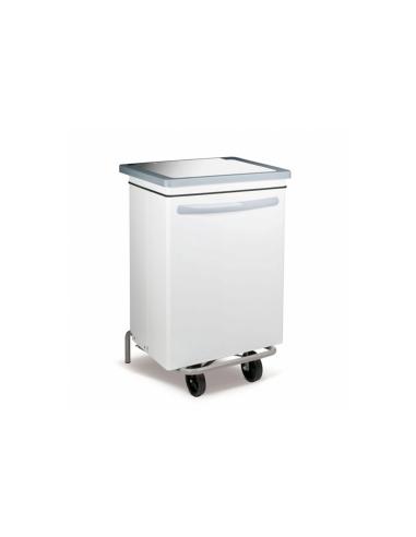 Conteneur poubelle mobile 70L 47x42x73cm blanc metal