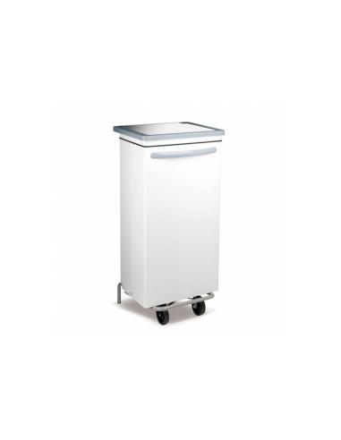 Conteneur poubelle mobile 100L 47x42x97cm blanc metal