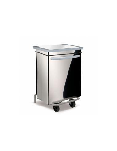 Conteneur poubelle mobile 70L 47x42x73cm argente inox