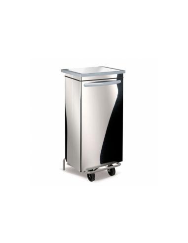 Conteneur poubelle mobile 100L 47x42x97cm argente inox