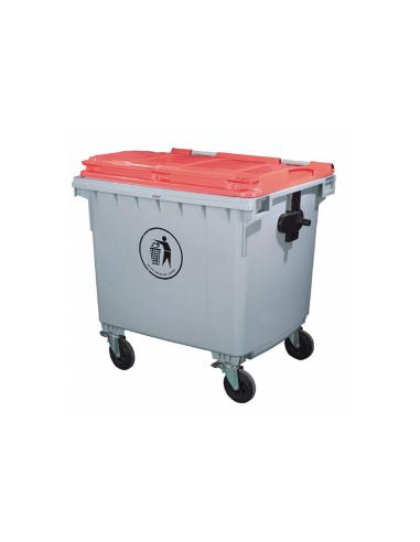 Conteneur poubelle 1100L 120x104x130cm gris PEHD