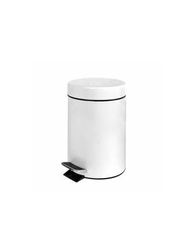 Poubelle à pédale avec réceptacle intérieur 3L ø17x27cm blanc