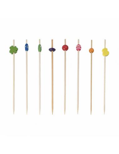 Piques Décorés en Bambou - 12 cm