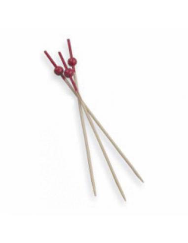 Piques Boule Rouge en Bambou - 9 cm