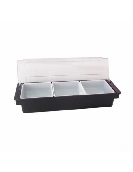 Distributeur à condiments - 3 compartiments - 49,5x15,7x9 cm noir