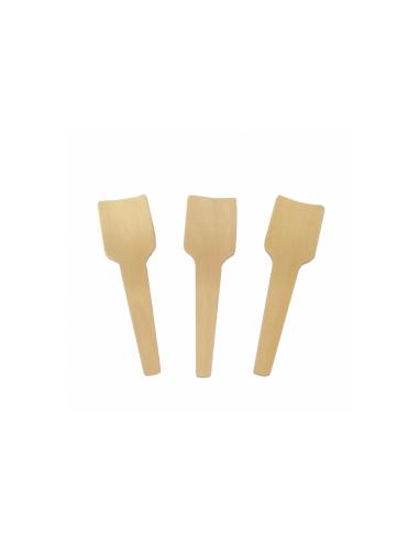 Cuillères à glaces en bois naturel 7 cm