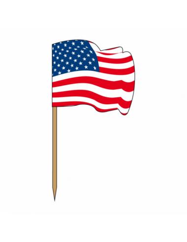 """Petits drapeaux en bois """"USA"""" 4x3/6"""