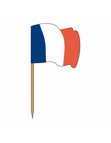 """Petits drapeaux en bois """"FRANCE"""" 4x3/6"""