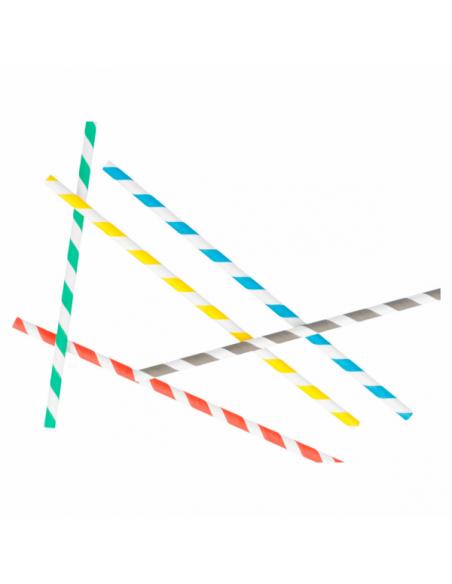 Pailles droites à franges en papier - Ø 0,60x21 CM