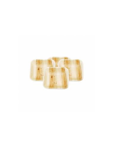 """Assiette carrée en feuille de palmier """"WEBIO"""" 7.7x7.7x2 cm"""