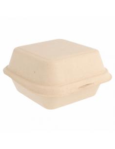 Boite Burger en Fibre de Canne - 15,2x15x8,4 cm - par 600 unités
