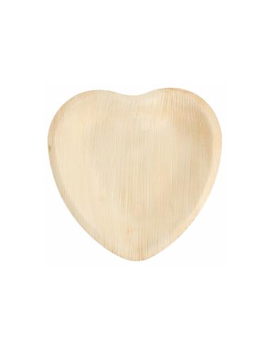 """Assiette coeur en feuille de palmier """"WEBIO"""" 16.5x16.5x2.5 cm"""