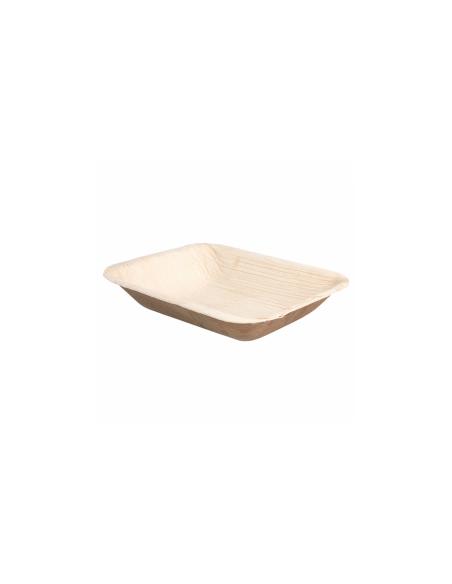 """Plateau rectangulaire en feuille de palmier """"WEBIO"""" 16x12.5x3 cm"""