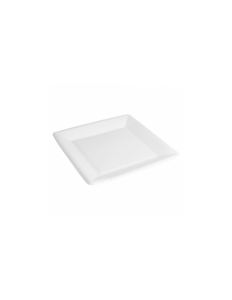 Assiette carree bio laquee carton 225gr blanc 18x18cm