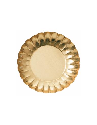 Assiette ronde relief carton Or
