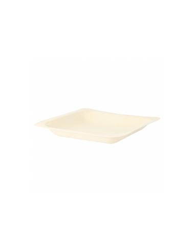 Assiette carree bois couleur naturel 14x14x2cm