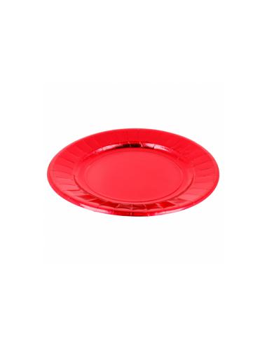 Assiette ronde carton rouge - Ø23 cm