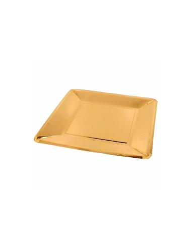 Assiette carrée carton or 25x25cm