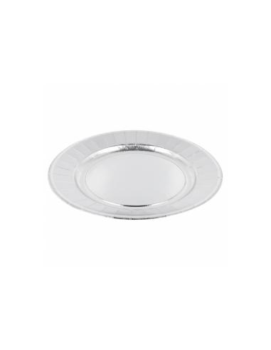 Assiette ronde carton argent - Ø23 cm