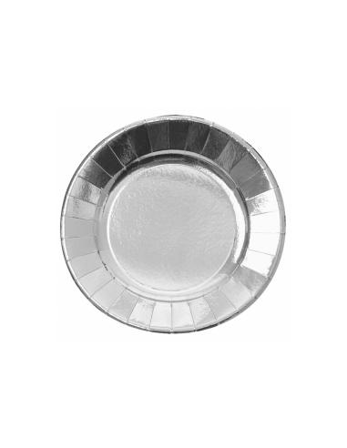 Assiette ronde carton argent