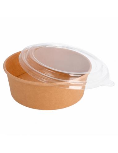 Combo Saladiers Kraft avec Couvercles PET poke bol