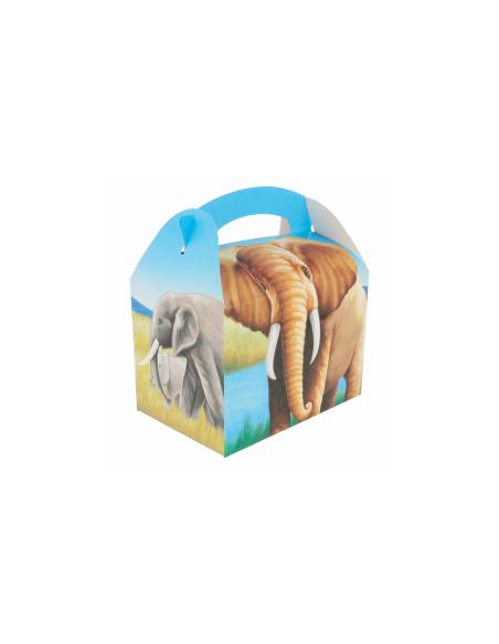 """Boîte pour menu enfant, modèle """"ELEPHANTS"""" 320 G/M2 17x16x10 CM"""