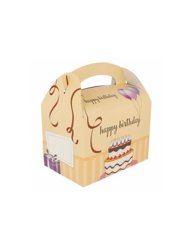 Boîte pour menu enfant, modèle 'HAPPY BIRTHDAY' 320 G/M2 17x16x10 CM