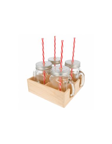 Set 4 pichets transparents en verre + paille, avec base en bois 450 ML Ø 8x13 CM