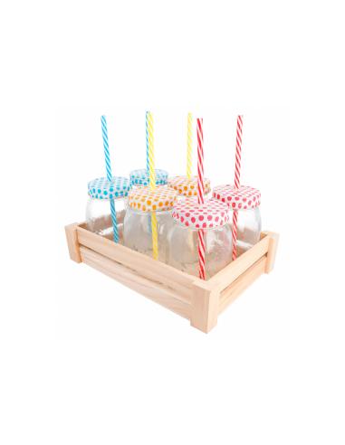 Set 6 pichets transparents en verre + paille, avec base en bois 530 ML Ø 8.8x13.3 CM