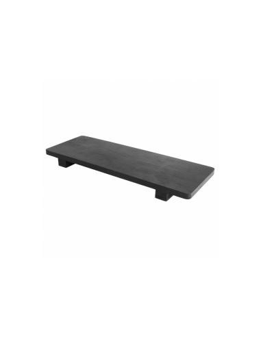 Plateau de présentation rectangulaire noir en bambou 30x11x2.5 CM