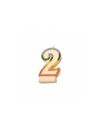 Bougie anniversaire n°2 givré 9 cm blanc cire