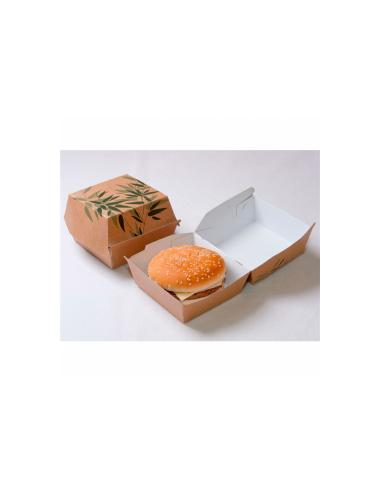 """Boite hamburger carton """"Feel green"""" 300 g/m² 14x12.5x8 cm"""