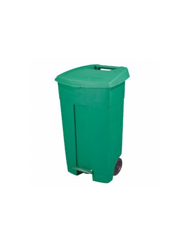 Conteneur poubelle avec couvercle 2 roues 130L 55X37x84cm vert PEHD