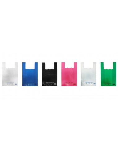 Sacs bretelles réutilisables 50µ - 26+12x45CM - Plusieurs coloris