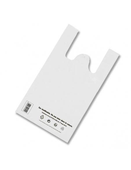 Sacs bretelles réutilisables 50µ - 26+12x45CM - Blanc