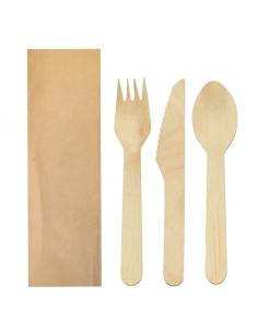 """Set fourchette, couteau et cuillère """"Makan"""" sous sachet Kraft - 16 cm"""